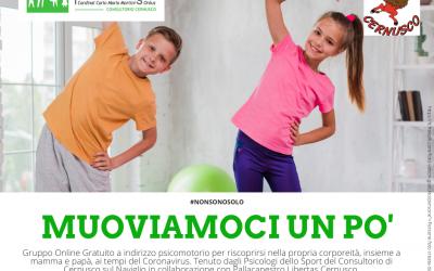 """#NONSONOSOLO – Online e Gratuito il Gruppo """"Muoviamoci un pò"""" di psicomotricità, gioco e movimento per bambini, grandi e piccini"""