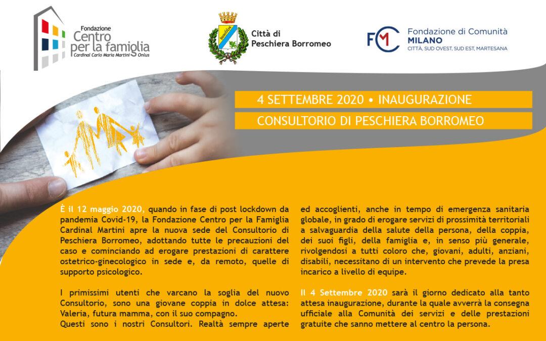 Save the Date – Venerdì 4 Settembre Inaugurazione del Consultorio di Peschiera Borromeo